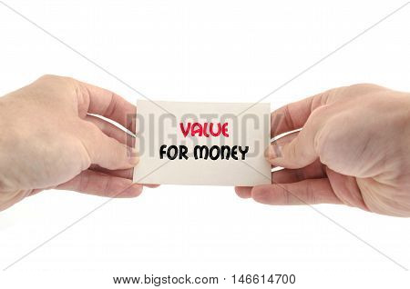 Value for money text concept isolated over white background