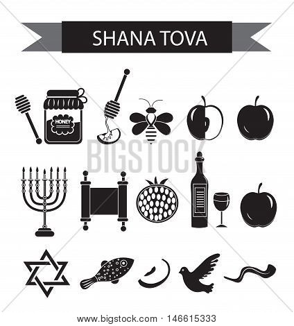 Set icons on the Jewish new year black silhouette icon Rosh Hashanah Shana Tova. Cartoon icons flat style. Traditional symbols of Jewish culture. Vector illustration.