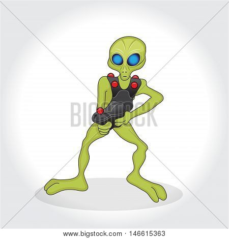 Humanoid an alien character. Alien mascot with weapon. Humanoid playing lasertag. Vector illustration