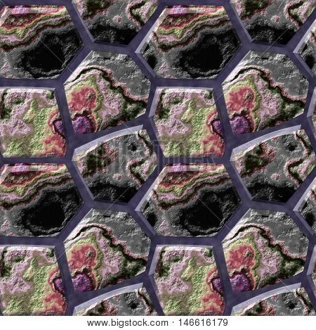 Abstract seamless pattern of 3d black, green and red layered stones. Pavement floor background of polygonal mottled stones