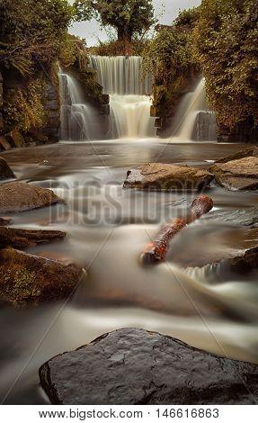 Long exposure of the waterfalls at Penllergare woods, Swansea, UK