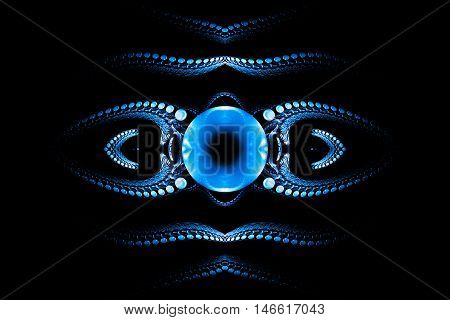 Eye of darkness. Abstract fantasy psychedelic ornament on black background. Symmetrical pattern. Computer-generated fractal in blue and white colors.
