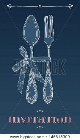 Hand drawn vector illustration of curly ornamental silver tableware, cutlery on blue background. Vector Illustration.