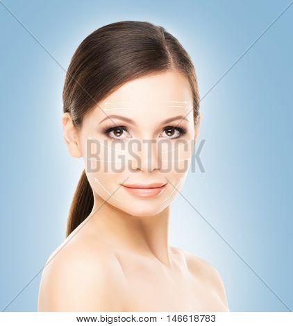 Portrait of beautiful, young and healthy woman with clean and smooth skin. Face lifting, medicine and plastic surgery concept.