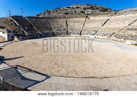 Ruins of Ancient amphitheater in the archeological area of Philippi, Eastern Macedonia and Thrace, Greece