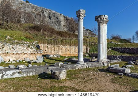 Panorama and columns in the archeological area of Philippi, Eastern Macedonia and Thrace, Greece