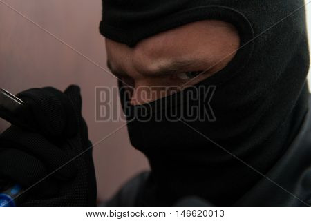 Close-up Of A Thief In The Mask