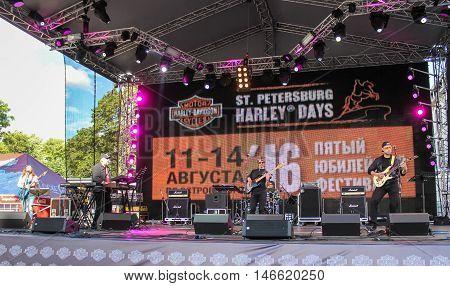 St. Petersburg, Russia - 12 August, Rock musicians on stage,12 August, 2016. Pop and rock musicians on Harley Davidson festival in St. Petersburg.