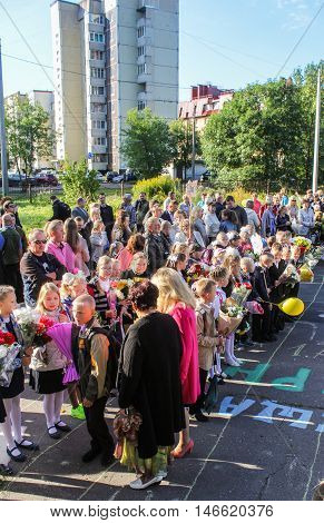 St. Petersburg, Russia - 1 September, People on holiday lineup,1 September, 2016. School holiday the Day of Knowledge.