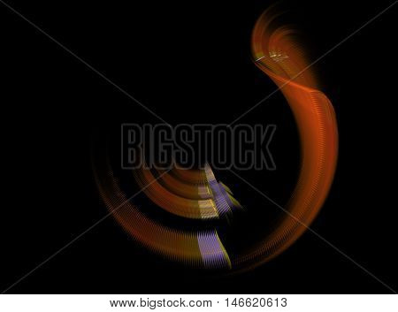 Abstract beautiful orange fractal on black background