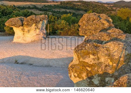 Sunrise Panorama of rock formation The Stone Mushrooms, Kardzhali Region, Bulgaria
