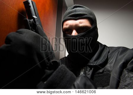 Burglar Breaks Into A Home With Gun