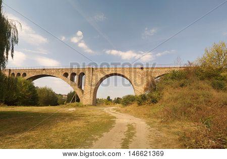 Old Austrian railway viaduct near Ostriv Ternopil region Ukraine. Built in 1896.