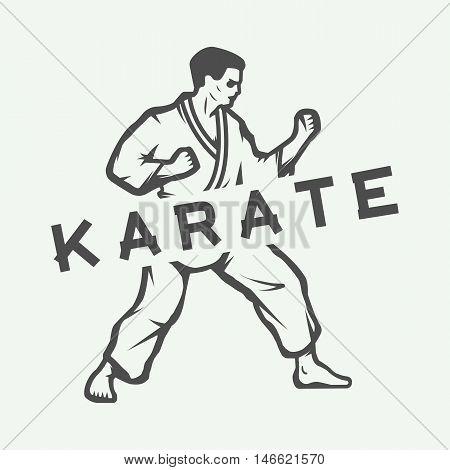 Vintage karate or martial arts logo emblem badge label and design elements. Graphic vector illustration.