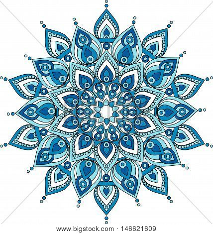 Vector decorative blue doodle mandala illustration. Vector mandala drawing