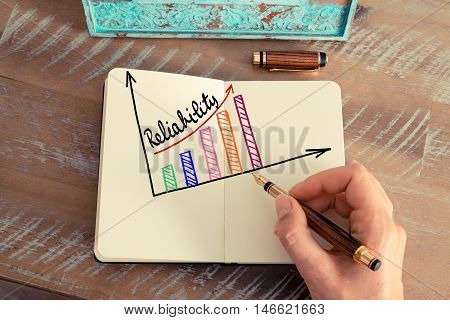 Business Woman Drawing A Colourful Reliability Graph