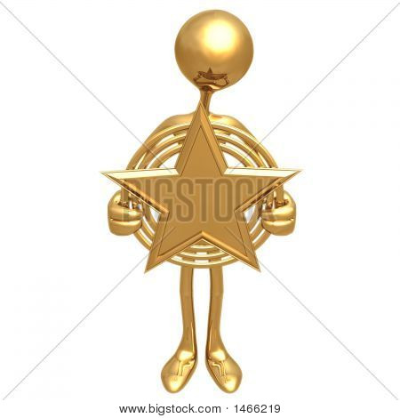 Holding A Gold Star Award