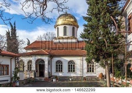 Amazing view Golden Dome of The Fish Church, St. Mary the Annunciation, Asenovgrad,  Plovdiv Region, Bulgaria