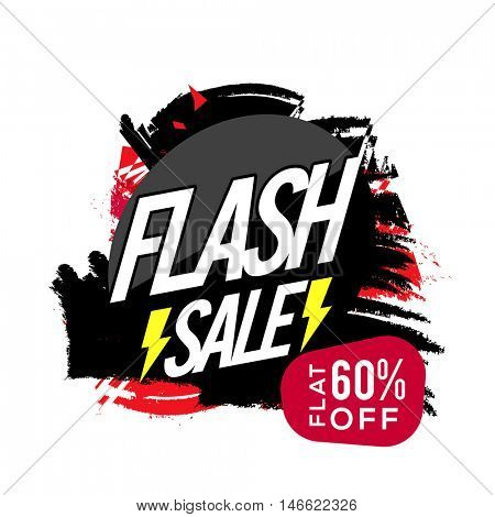 Flash Sale Poster, Sale Banner or Flyer design, Flat 60% Off, Abstract Sale background with brush stroke, Creative vector illustration.