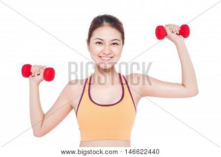 Asian woman working out with dumbbells happy and healthy lifestyle isolated on white background