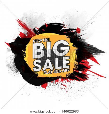 Big Sale with Flat 40% Off, Creative abstract background with brush stroke, Sale Poster, Banner or Flyer design, Vector illustration.
