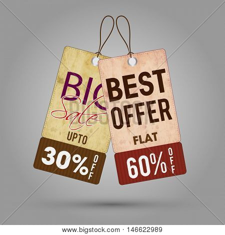 Big Sale with 30% Off, Best Offer Sale with Flat 60% Off, Vintage hang tag or label set on grey background, Creative vector illustration.