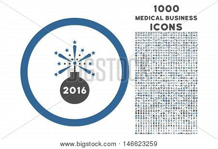 2016 Fireworks Detonator rounded glyph bicolor icon with 1000 medical business icons. Set style is flat pictograms, cobalt and gray colors, white background.