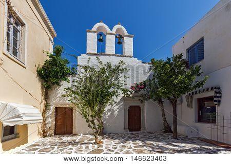 White church in Parakia, Paros island, Cyclades, Greece