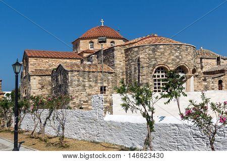 Back view of Church of Panagia Ekatontapiliani in Parikia, Paros island, Cyclades, Greece