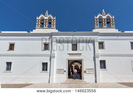 Outside view of Church of Panagia Ekatontapiliani in Parikia, Paros island, Cyclades, Greece