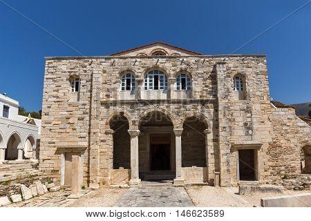 Frontal view of Church of Panagia Ekatontapiliani in Parikia, Paros island, Cyclades, Greece