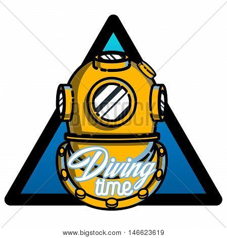 Color vintage diving emblem. For diving club and underwater swimming