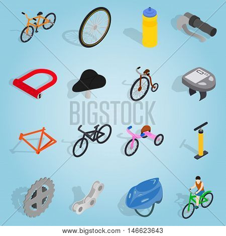 Isometric bicycle icons set. Universal bicycle icons to use for web and mobile UI, set of basic bicycle elements vector illustration