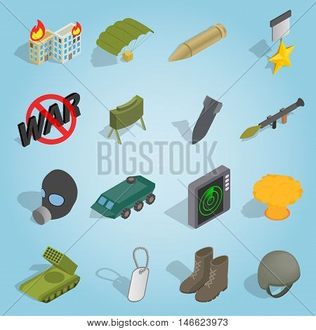 Isometric military icons set. Universal military icons to use for web and mobile UI, set of basic military elements vector illustration