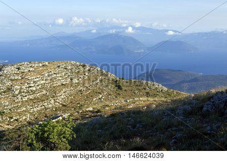 Amazing landscape of Mountain of Lefkada, Ionian Islands, Greece