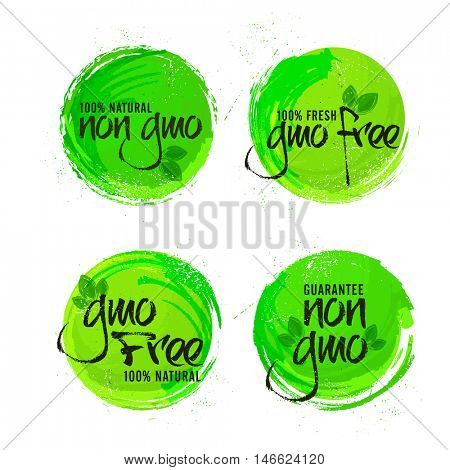 Non GMO or GMO Free Stickers set, Natural Organic Products Labels, Green Tags design, Hand drawn lettering collection, Creative vector illustration for Healthy Food concept.