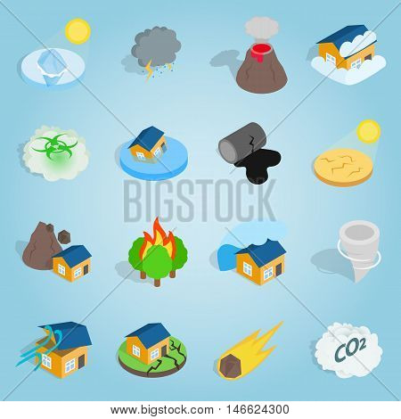 Isometric catastrophe icons set. Universal catastrophe icons to use for web and mobile UI, set of basic catastrophe elements vector illustration