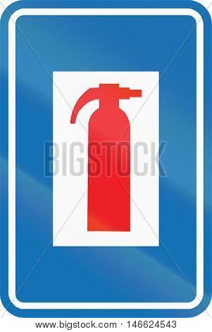 Belgian Informational Road Sign - Fire Extinguisher