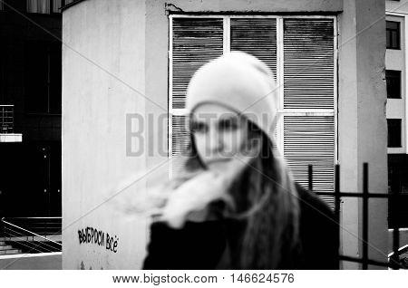 Yong Beautiful Girl In Urban Background Monochrome