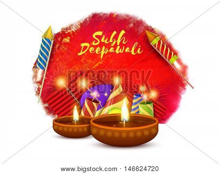 Creative background with illuminated Oil Lamps and colorful Firecrackers for Shubh Deepawali (Happy Deepawali or Diwali) celebration, Can be used as Poster, Banner or Flyer design.