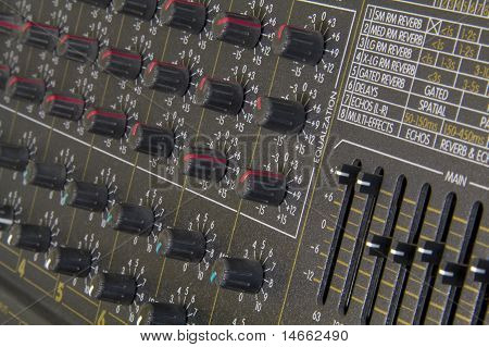 Close Up Of Amplifier Buttons And Knobs
