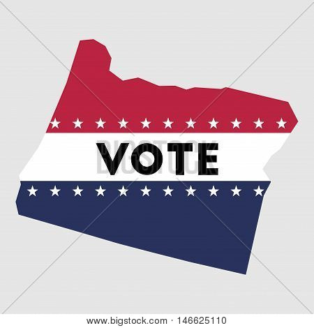 Vote Oregon State Map Outline. Patriotic Design Element To Encourage Voting In Presidential Election