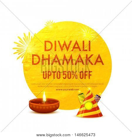 Diwali Dhamaka Banner, Big Sale Flyer, Special Offer Poster, Upto 50% Off, Glowing golden background with oil lamp and firecracker for Indian Festival of Lights celebration.