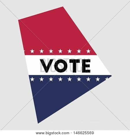Vote Rhode Island State Map Outline. Patriotic Design Element To Encourage Voting In Presidential El