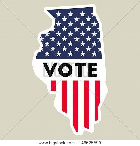 Usa Presidential Election 2016 Vote Sticker. Illinois State Map Outline With Us Flag. Vote Sticker V