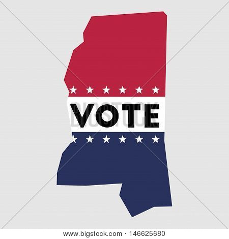Vote Mississippi State Map Outline. Patriotic Design Element To Encourage Voting In Presidential Ele