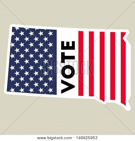 Usa Presidential Election 2016 Vote Sticker. South Dakota State Map Outline With Us Flag. Vote Stick