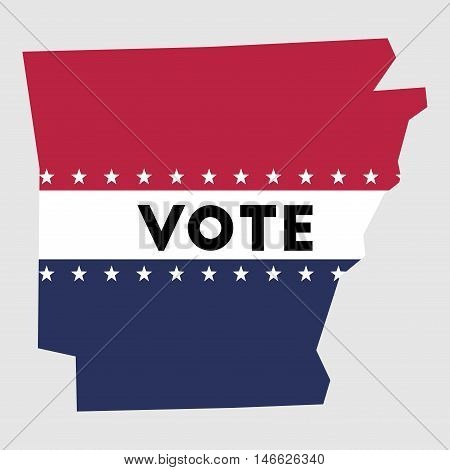 Vote Arkansas State Map Outline. Patriotic Design Element To Encourage Voting In Presidential Electi