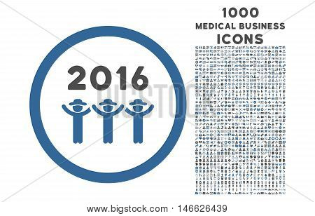 2016 Guys Dance rounded vector bicolor icon with 1000 medical business icons. Set style is flat pictograms, cobalt and gray colors, white background.