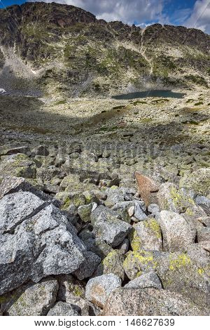 Panoramic view of Musalenski lakes and stones in front, Rila mountain, Bulgaria